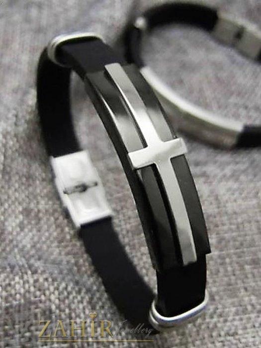 Силиконова черна гривна 20 см с плочка от неръждаема стомана с черен кръст - GS1353