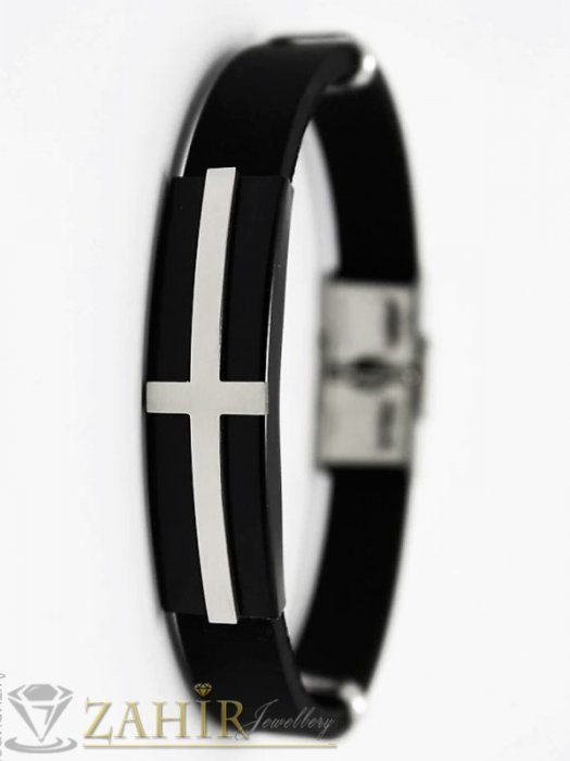 Бижута за мъже - Силиконова черна гривна 20 см с плочка от неръждаема стомана с черен кръст - GS1353