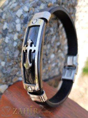 Силиконова черна гривна 20 см с черна стоманена плочка 4 см с кръст - GS1359