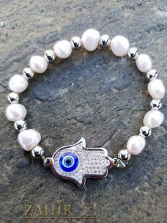 Ластична гривна с кристален стоманен елемент хамса и речни перли, против уроки - GS1362