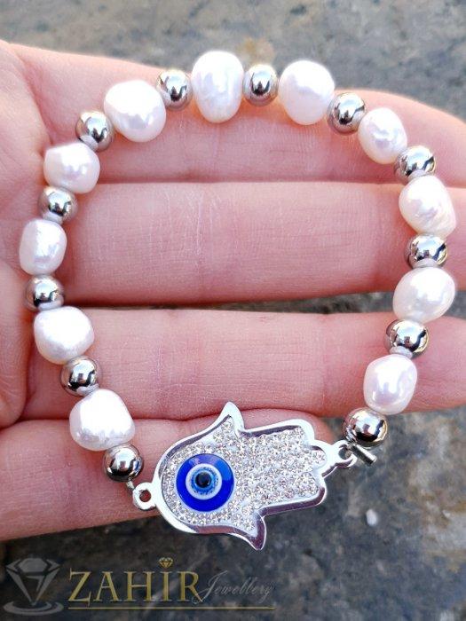Гривни - Ластична гривна с кристален стоманен елемент хамса и речни перли, против уроки - GS1362