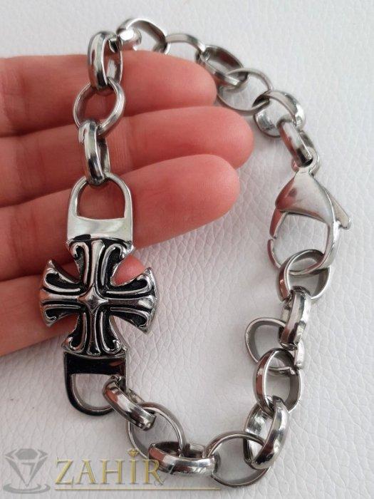 Бижута за мъже - Великолепна стоманена гривна с малтийски кръст и масивни рингове, налична в 4 дължини, високо качество - GS1364