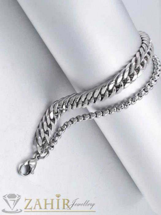 Бижута за мъже - Неустоима двойна гривна от най-висок клас стомана, стилни плетки широки 0,8 и 0,4 см, 4 възможни дължини - GS1371
