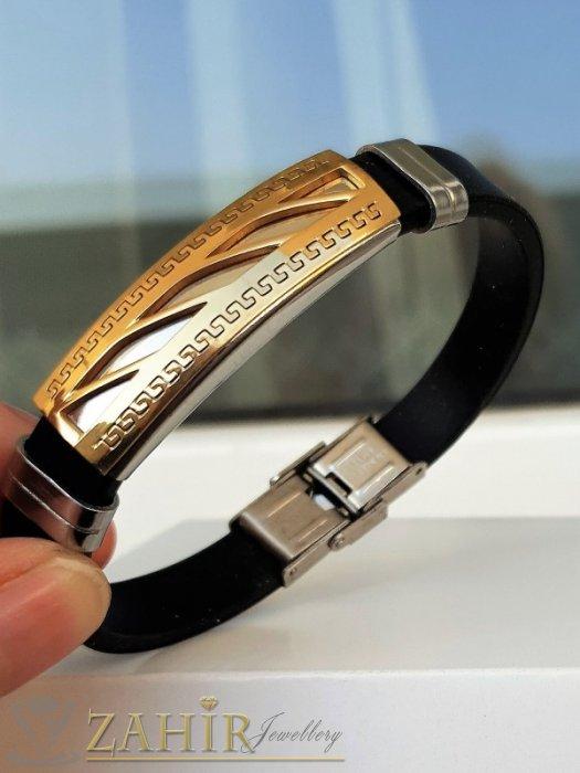 Бижута за мъже - Великолепна стоманена гравирана плочка 5 см на черна силиконова гривна 20 см, стоманена закопчалка - GS1376
