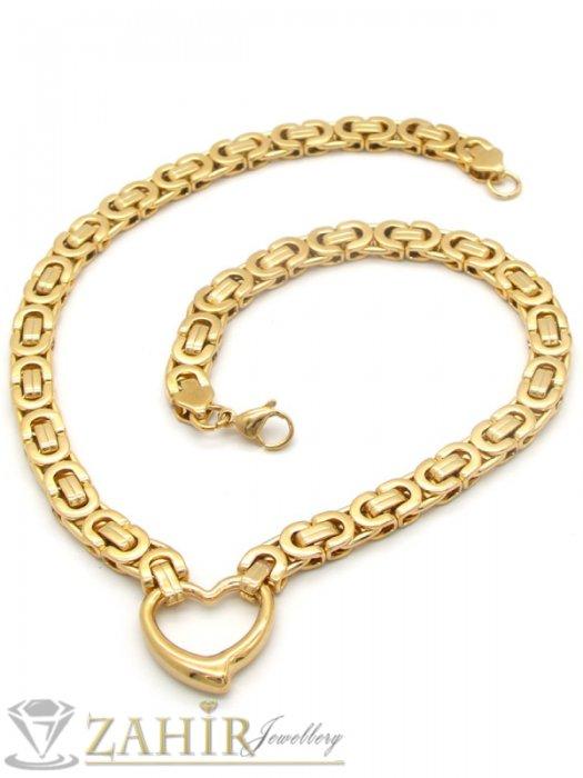 Дамски бижута - Пленителен позлатен стоманен ланец, римска плетка със сърце, наличен в 4 размера - K1907
