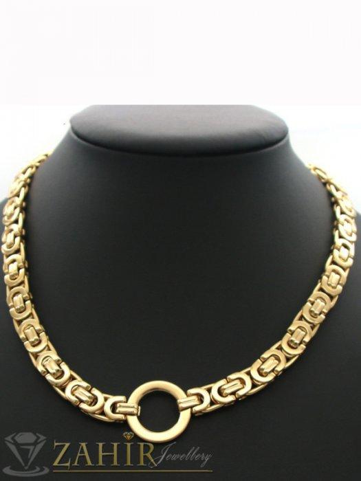 Шикозен римски позлатен ланец, наличен в 4 размера, широк 0,8 см с висулка ринг 2 см - K1910