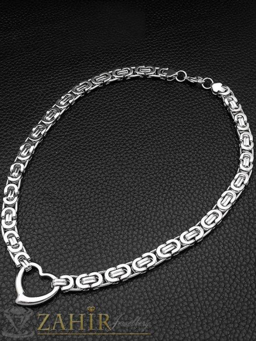 Романтичен римски стоманен ланец, наличен в 4 размера, широк 0,6 см с висулка сърце 2 см - K1911