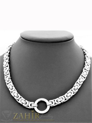 Непроменящ цвета си римски стоманен ланец, наличен в 4 размера, широк 0,8 см с висулка ринг 2 см - K1912