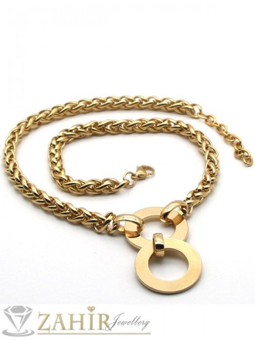 Дамски бижута - Елегантен позлатен ланец в 4 размера с висулка рингове 6 см, широк 0,6 см, изящна плетка - K1913