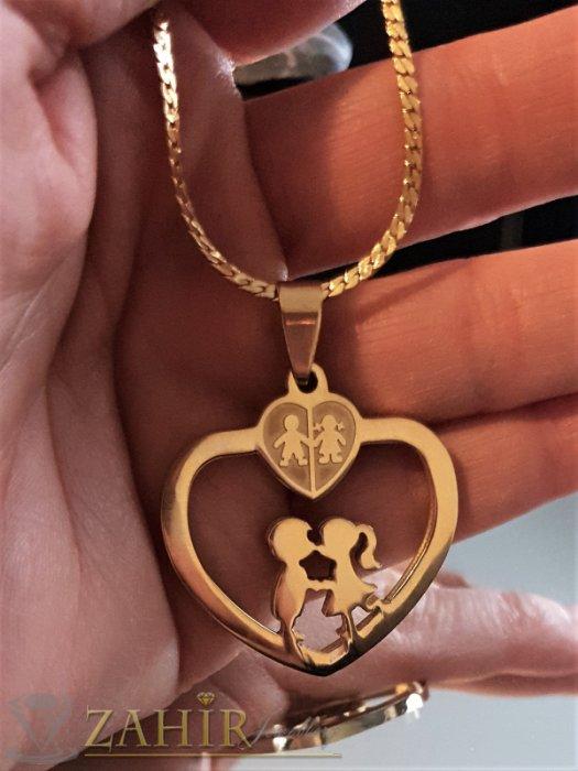 Дамски бижута - Романтична висулка сърце 3 см за влюбени на нежно колие 43 см, позлатена стомана - K1914