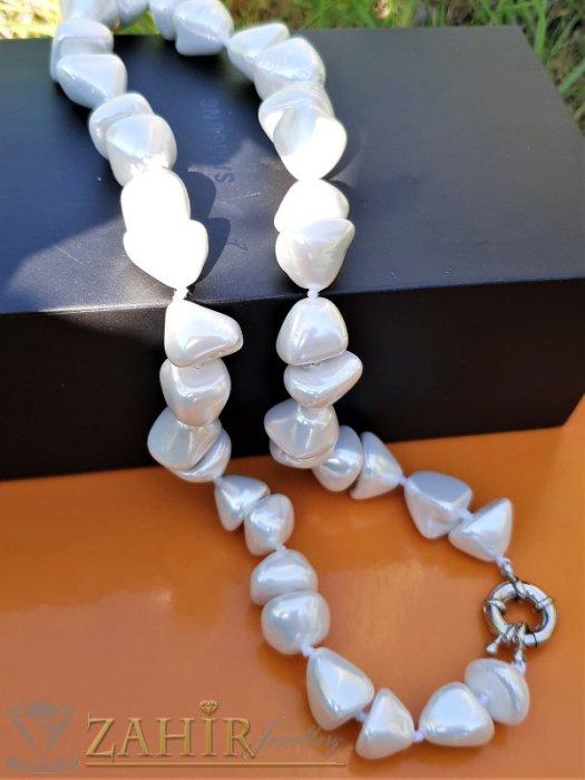 Великолепна бяла огърлица от 1 см асиметрични перли Майорка, дължина 48 см - K1916