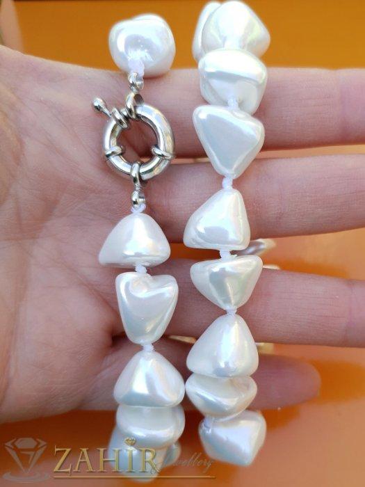 Дамски бижута - Великолепна бяла огърлица от 1 см асиметрични перли Майорка, дължина 48 см - K1916