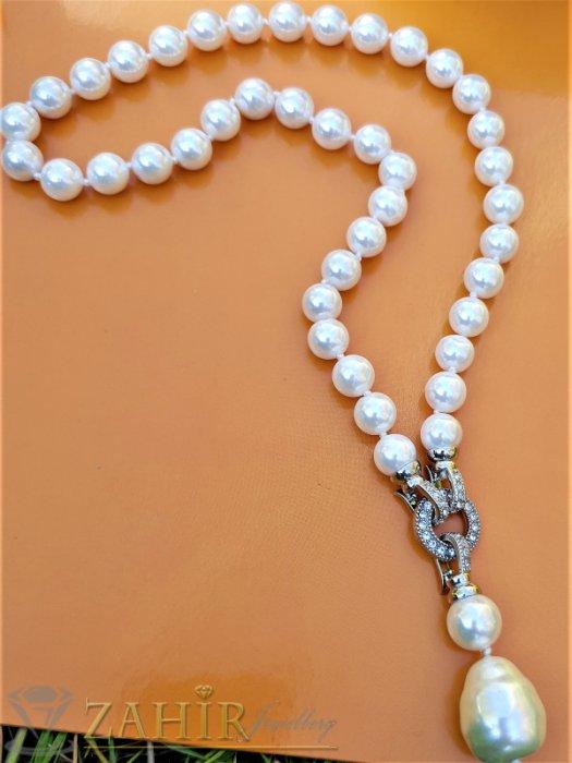 Два варианта на една огърлица от бели 0,9 см перли Майорка, дължина 48 см с висулка 5 см - K1917