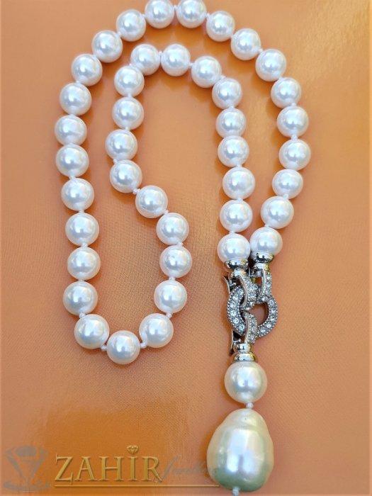 Дамски бижута - Два варианта на една огърлица от бели 0,9 см перли Майорка, дължина 48 см с висулка 5 см - K1917