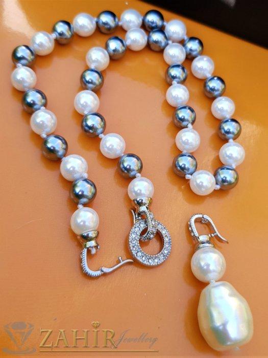 Дамски бижута - Два варианта на една огърлица от разноцветни 0,9 см перли Майорка, дължина 48 см с висулка 5 см - K1919