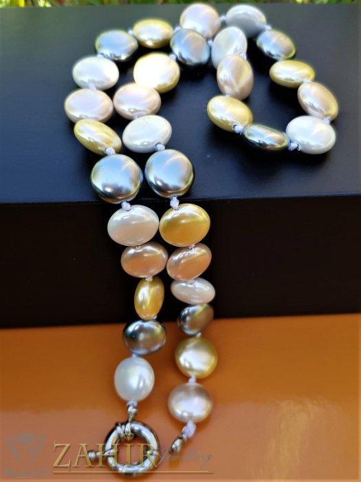 Искряща огърлица 47 см с плоски 1,2 см разноцветни перли Майорка, ефектна закопчалка - K1921