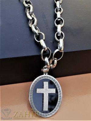 Дизайнерски стоманен медальон 5 на 3,5 см с кристален кръст на стоманен ланец, 4 размера, широк 0,9 см - K1922
