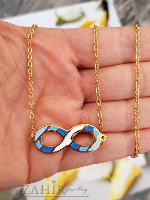 Дамски бижута - Преливащо в синьо елемент безкрайност на колие 54 см, стомана със златно покритие - K1931