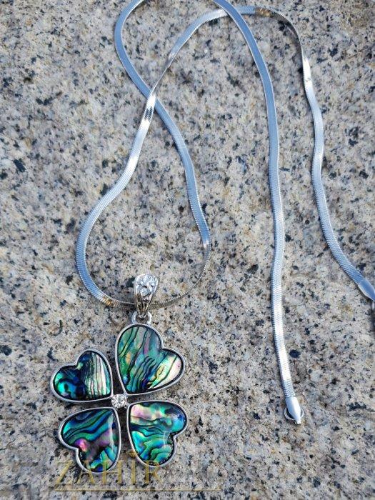 Дамски бижута - Великолепна детелина от синьо-зелен мексикански седеф 3,5 см на полирана стоманена верижка 50 см - K1934