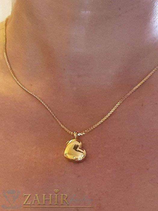 Дамски бижута - Висококачествено стоманено сърце 1,8 см с 3 нежни кристала на колие от стомана 50 см - K1941