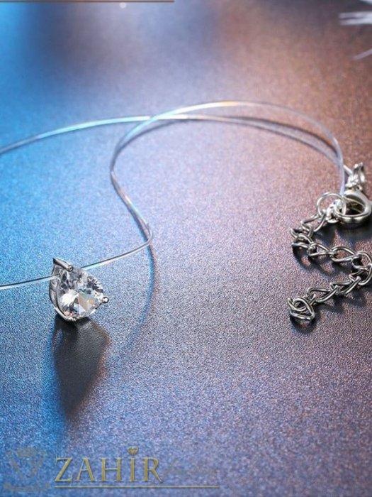 Дамски бижута - Нежна кристална капка циркон на колие от невидима корда, регулираща се до 33 см - K1943