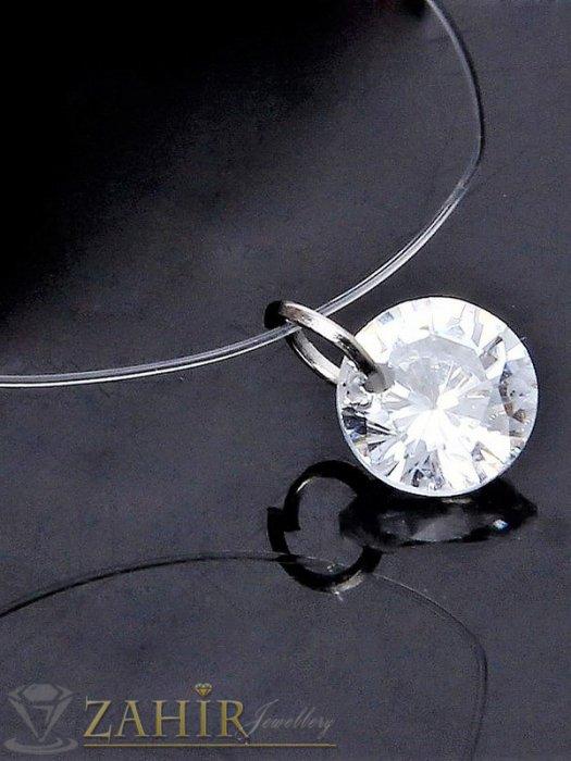 Дамски бижута - Романтично колие с красив фасетиран кристал 1 см на невидима корда, дълго от 27 до 33 см - K1944