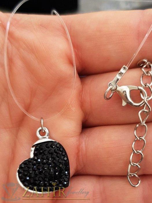 Романтично колие с черно кристално сърце 2 см на невидима корда, дълго от 27 до 33 см - K1952