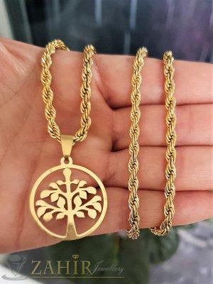 Висококачествена висулка медальон Дървото на живота 2,5 см на ефектен ланец дълъг 60 см, стомана - K1967