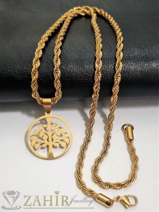 Дамски бижута - Висококачествена висулка медальон Дървото на живота 2,5 см на ефектен ланец дълъг 60 см, стомана - K1967