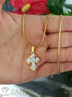 Много сладко кръстче с кристали 2 см от стомана на класически синджир 50 см, позлатени - K1968