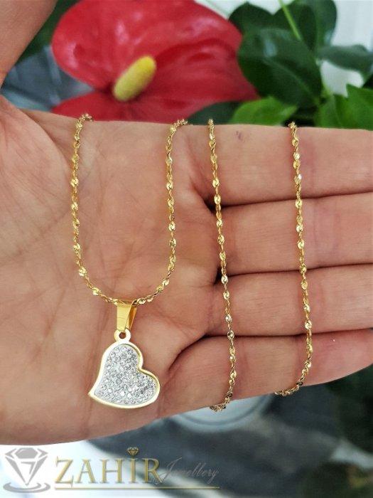 Романтично сърце с кристали 2 см от позлатена стомана на класически синджир 60 см, позлатен - K1969