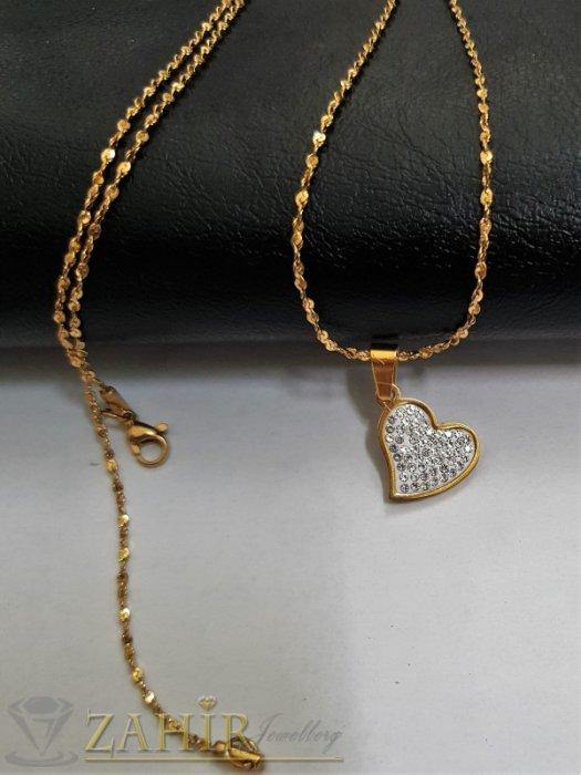 Дамски бижута - Романтично сърце с кристали 2 см от позлатена стомана на класически синджир 60 см, позлатен - K1969