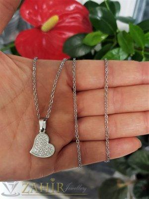 Малко сърце с кристали 2 см от неръждаема стомана на класически синджир 50 см - K1970