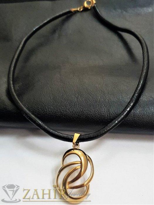Дамски бижута - Елегантна стоманена висулка 4 см на черна естествена кожена каишка налична в 3 размера - K1975