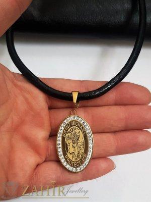 СВетец на медальон с 2 лица и кристали на висулка 3,5 см на черна кожена каишка налична в 3 размера - K1978