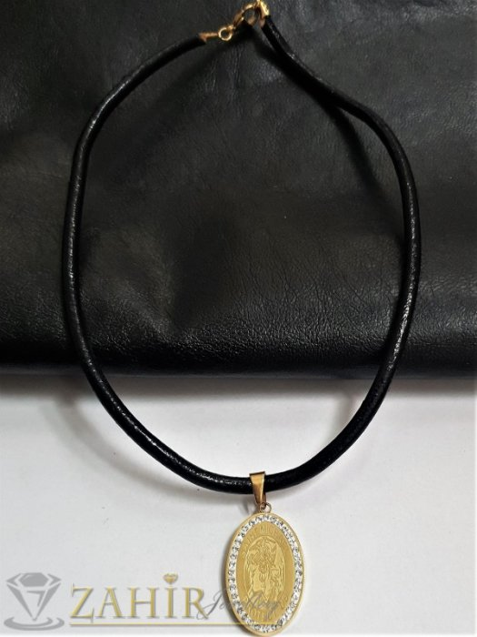 Дамски бижута - СВетец на медальон с 2 лица и кристали на висулка 3,5 см на черна кожена каишка налична в 3 размера - K1978