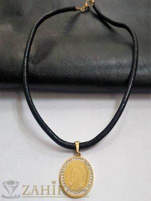 Дева Мария на медальон с 2 лица и кристали на висулка 3 см на черна кожена каишка налична в 3 размера - K1979