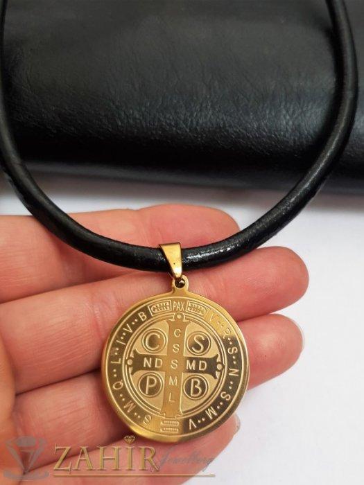 Дамски бижута - Дева Мария на медальон с 2 лица и кристали на висулка 3 см на черна кожена каишка налична в 3 размера - K1979