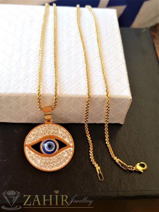 Дамски бижута - Медальон против уроки 3 см със синьо око от позлатена стомана, изящна изработка, на тънък стоманен ланец 50 см - K1982