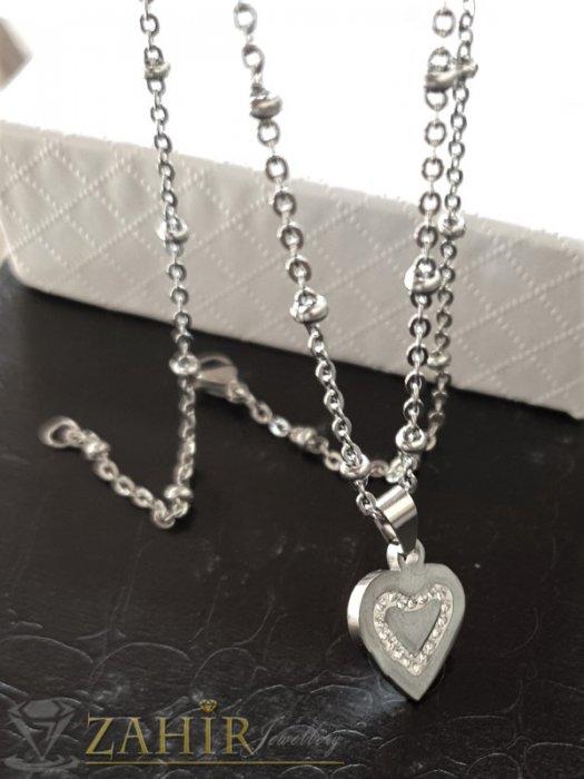Много нежно сърце с кристали 1 см от стомана високо качество на верижка от стомана, дълга 50 см - K1984