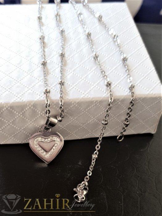 Дамски бижута - Много нежно сърце с кристали 1 см от стомана високо качество на верижка от стомана, дълга 50 см - K1984