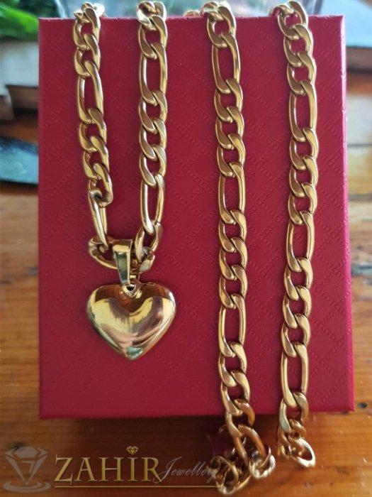 Най-желаният модел сърце 2 см на верижка фигаро плетка в 3 размера, материал позлатена стомана - K1985