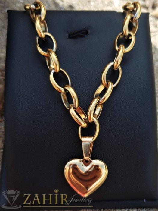 Дамски бижута - Най-желаният модел сърце 2 см на хитов модел плетка в 3 размера,широка 0,7 см, материал позлатена стомана - K1989