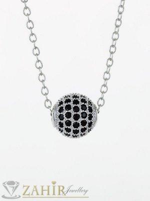 Красива сребриста топка 1 см с черни ковани кристали на нежно колие от неръждаема стомана 45 или 50 см по избор - K1990