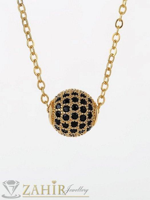 Красива златиста топка 1 см с черни ковани кристали на нежно колие от позлатена стомана 45 или 50 см по избор - K1991