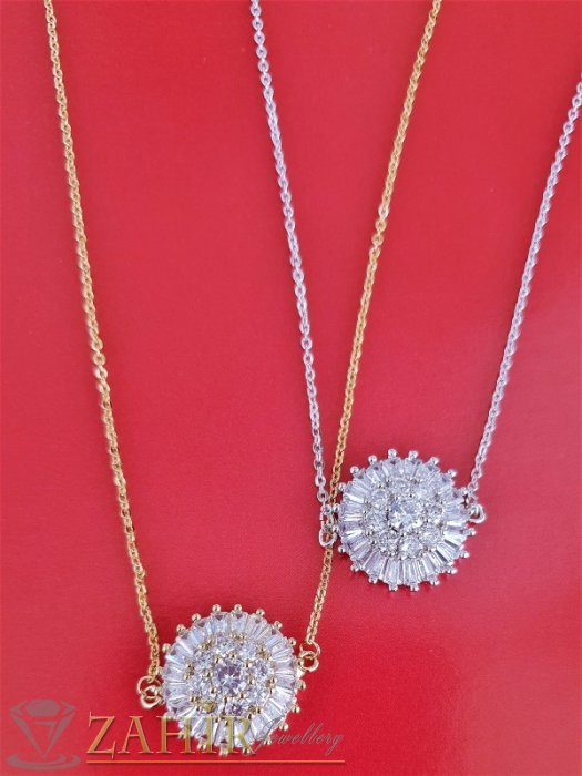 Великолепен кристален медальон 1,8 см в златно или сребърно на стоманена верижка 45 см с удължител 5 см - K1993