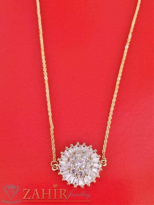 Дамски бижута - Великолепен кристален медальон 1,8 см в златно или сребърно на стоманена верижка 45 см с удължител 5 см - K1993