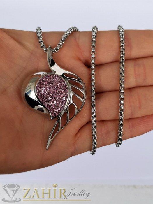 Дамски бижута - Бяла или розова кристална висулка 5,5 см от висококачествена стомана на класическа стоманена верижка 50 см - K2000