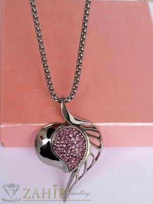 Бяла или розова кристална висулка 5,5 см от висококачествена стомана на класическа стоманена верижка 50 см - K2000