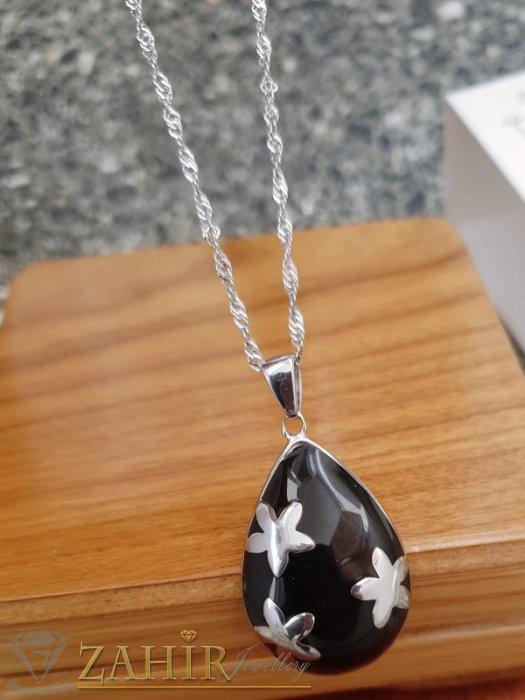 Дамски бижута - Бутикова черна полирана висулка 3 на 2 см от стомана супер качество на стоманена верижка 50 см - K2004